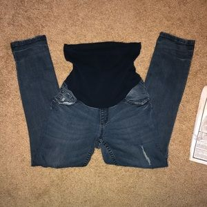 Distressed maternity ankle Jean